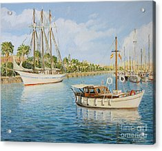 Port Vell In Barcelona Acrylic Print by Kiril Stanchev