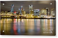 Portland Oregon Skyline Reflections Acrylic Print by Dustin K Ryan