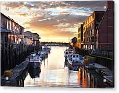 Portland Sunrise At The Custom House Wharf Acrylic Print by Eric Gendron