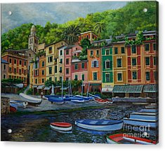 Portofino Harbor Acrylic Print by Charlotte Blanchard