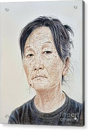 Portrait Of A Chinese Woman With A Mole On Her Chin Acrylic Print by Jim Fitzpatrick