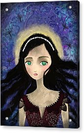 Portrait Of A Girl In A Forest During The Full Moon Acrylic Print by Yazmin Basa