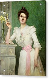 Portrait Of A Lady Holding A Fan Acrylic Print by Jules-Charles Aviat