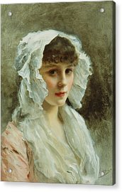 Portrait Of A Lady In A White Bonnet Acrylic Print by Gustave Jean Jacquet
