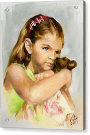 Portrait Of A Young Girl With Toy Bear Acrylic Print by Liz Viztes