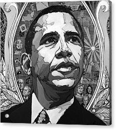 Portrait Of Barak Obama Acrylic Print by John Gibbs