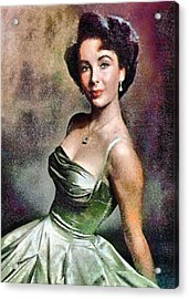 1950s Portraits Acrylic Print featuring the digital art Portrait Of Elizabeth Taylor by Charmaine Zoe