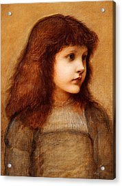 Portrait Of Gertie Lewis Acrylic Print by Edward Burne-Jones