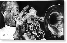 Portrait Of Louie Armstrong Acrylic Print by Carrie Jackson