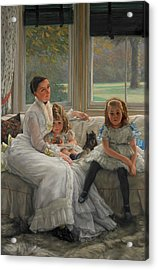 Portrait Of Mrs Catherine Smith Gill And Two Of Her Children Acrylic Print by James Tissot