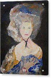 Portrait Of Woman In Blue Acrylic Print by Edward Wolverton