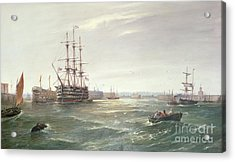 Portsmouth Harbour With Hms Victory Acrylic Print by Robert Ernest Roe