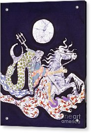 Poseidon Rides The Sea On A Moonlight Night Acrylic Print by Carol  Law Conklin
