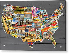 Postcards Of The United States Vintage Usa Lower 48 Map On Gray Wood Background Acrylic Print by Design Turnpike