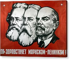 Poster Depicting Karl Marx Friedrich Engels And Lenin Acrylic Print by Unknown