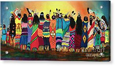 Pow Wow Blanket Dancers Acrylic Print by Anderson R Moore