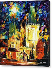 Prague 2 - Palette Knife Oil Painting On Canvas By Leonid Afremov Acrylic Print by Leonid Afremov