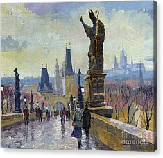 Prague Charles Bridge 04 Acrylic Print by Yuriy  Shevchuk