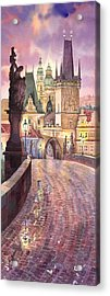 Prague Charles Bridge Night Light 1 Acrylic Print by Yuriy  Shevchuk