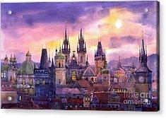 Prague City Of Hundres Spiers Variant Acrylic Print by Yuriy  Shevchuk