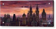 Prague City Of Hundres Spiers Acrylic Print by Yuriy  Shevchuk