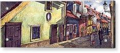 Prague Golden Line Street Acrylic Print by Yuriy  Shevchuk