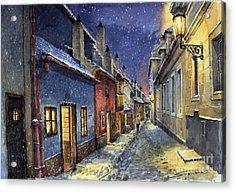 Prague Golden Line Winter Acrylic Print by Yuriy  Shevchuk