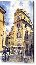 Prague Karlova Street Hotel U Zlate Studny Acrylic Print by Yuriy  Shevchuk