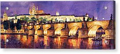 Prague Night Panorama Charles Bridge  Acrylic Print by Yuriy  Shevchuk