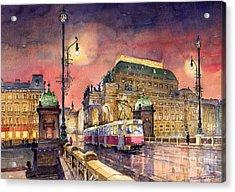 Prague  Night Tram National Theatre Acrylic Print by Yuriy  Shevchuk