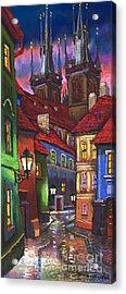 Prague Old Street 01 Acrylic Print by Yuriy  Shevchuk