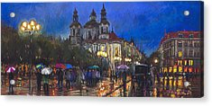 Prague Old Town Square St Nikolas Ch Acrylic Print by Yuriy  Shevchuk