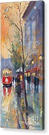 Prague Old Tram Vaclavske Square Acrylic Print by Yuriy  Shevchuk