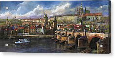 Prague Panorama Charles Bridge Prague Castle Acrylic Print by Yuriy  Shevchuk