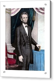 President Abraham Lincoln In Color Acrylic Print by War Is Hell Store