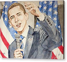 President Barack Obama Speaking Acrylic Print by Andrew Bowers
