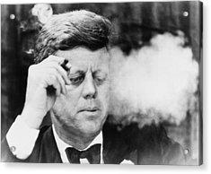 President John Kennedy, Smoking A Small Acrylic Print by Everett