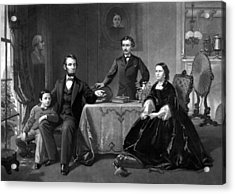 President Lincoln And His Family  Acrylic Print by War Is Hell Store