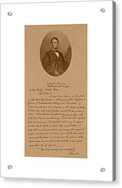President Lincoln's Letter To Mrs. Bixby Acrylic Print by War Is Hell Store