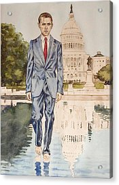President Obama Walking On Water Acrylic Print by Andrew Bowers