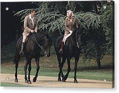 President Reagan And Queen Elizabeth II Acrylic Print by Everett
