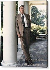 President Reagan On The White House Acrylic Print by Everett