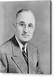 President Truman Acrylic Print by War Is Hell Store