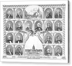 Presidents Of The United States 1776-1876 Acrylic Print by War Is Hell Store