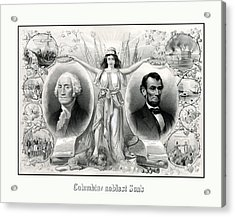 Presidents Washington And Lincoln Acrylic Print by War Is Hell Store