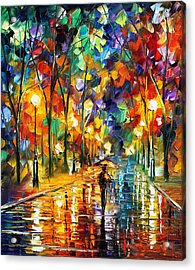 Pretty Night - Palette Knife Oil Painting On Canvas By Leonid Afremov Acrylic Print by Leonid Afremov