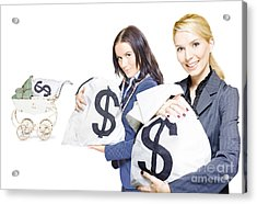 Pretty Young Business Women Holding Sacks Of Money Acrylic Print by Jorgo Photography - Wall Art Gallery