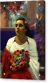 Priestess Of The Floral Temple Acrylic Print by Stephen Lucas