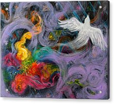 Prophetic Message Sketch Painting 10 Divine Pattern Dove Acrylic Print by Anne Cameron Cutri