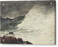 Prouts Neck Breaking Wave Acrylic Print by Winslow Homer